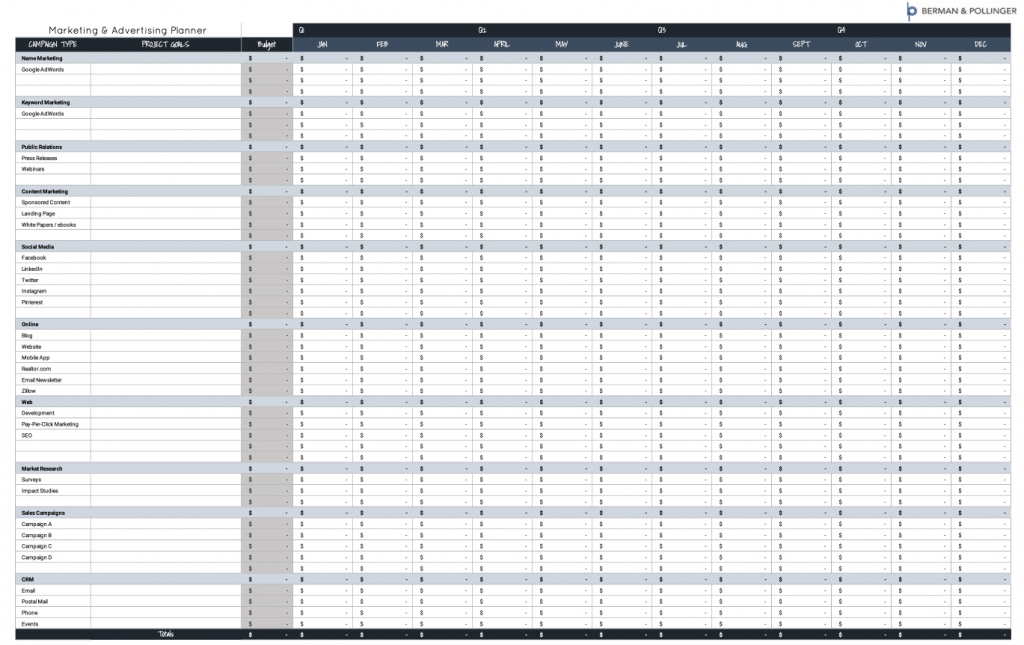 Excel Marketing Plan and Budget Template